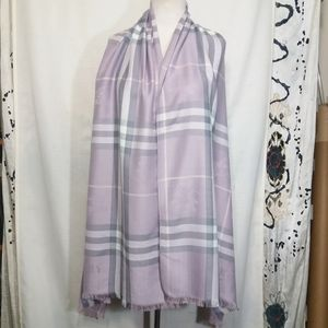 "Burberry London Cashmere Silk Lilac Shawl 28""x78'"